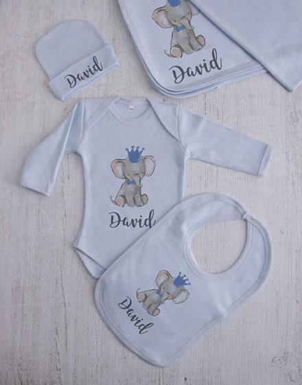 baby Personalised Blue Elephant Clothing Gift Set
