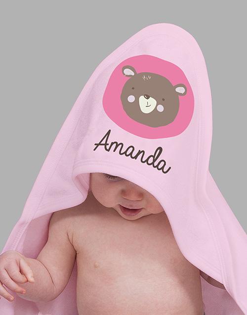 baby Personalised Little Bear Pink Hooded Baby Towel