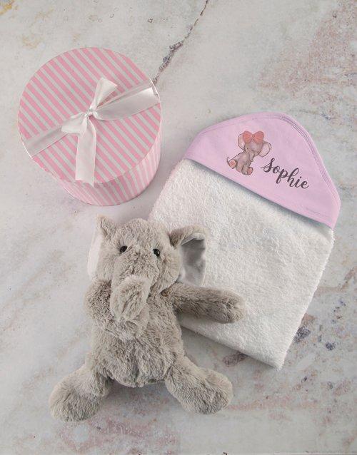 baby Personalised Pink Elephant Hooded Baby Towel