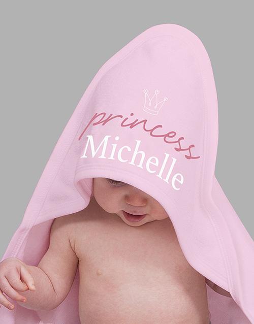 baby Personalised Crowned Princess Hooded Baby Towel