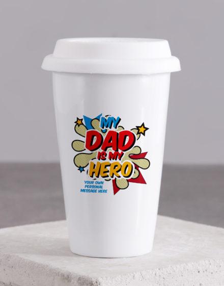 fathers-day Personalised Hero Dad Ceramic Travel Mug