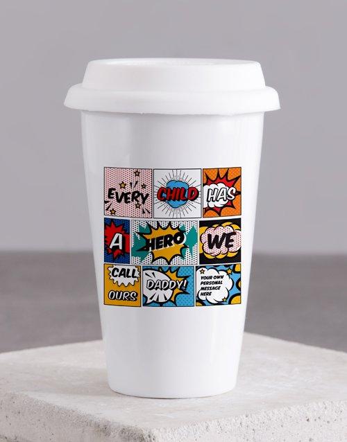 fathers-day Personalised Hero Daddy Ceramic Travel Mug