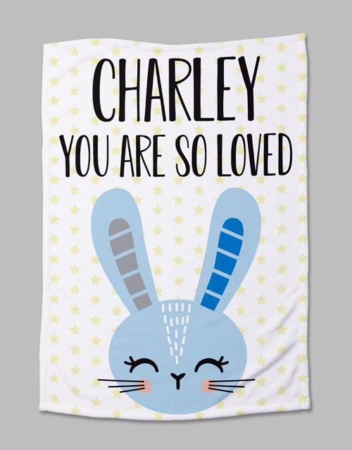 baby Personalised Bunny Baby Fleece Blanket