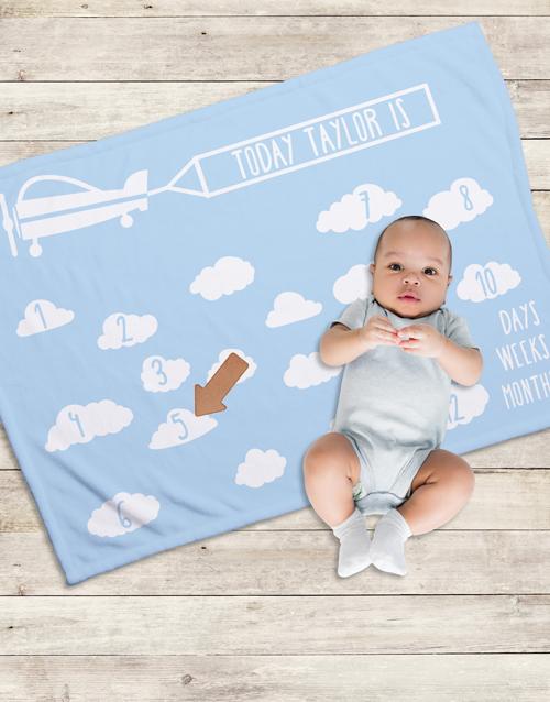 baby Personalised In The Clouds Milestone Blanket