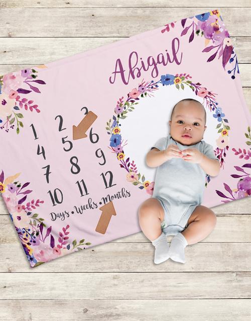 baby Personalised Floral Milestone Blanket