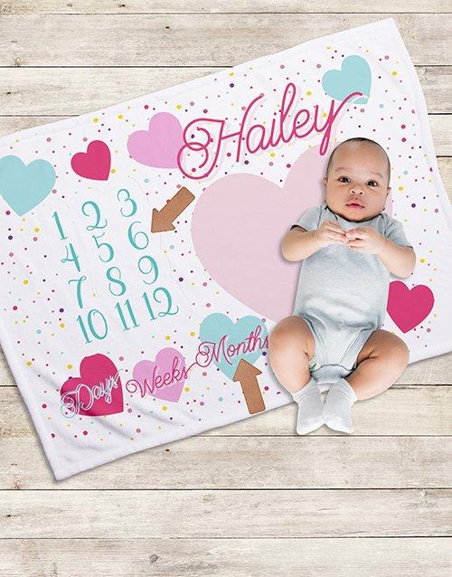 baby Personalised Hearts Milestone Blanket