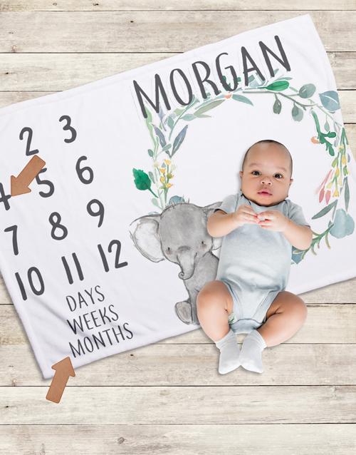 baby Personalised Elephant Milestone Blanket