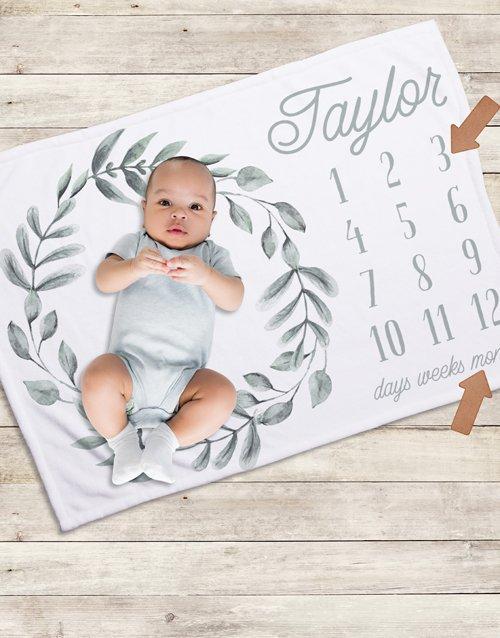 baby Personalised Wreath Milestone Blanket