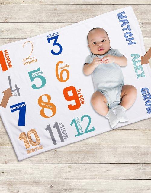 baby Personalised Colourfull Milestone Blanket
