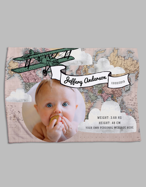 baby Personalised Map Birth Fleece Blanket