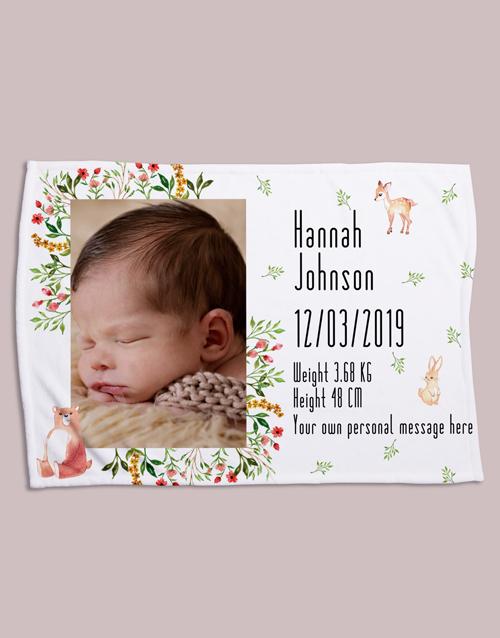 baby Personalised Forest Friends Birth Fleece Blanket