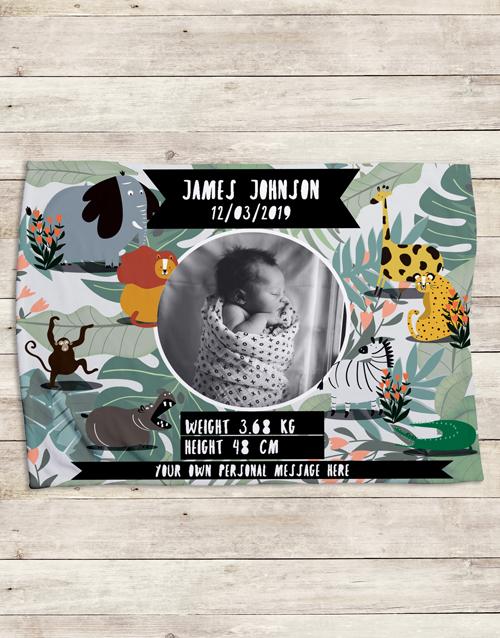 baby Personalised Wild Birth Fleece Blanket
