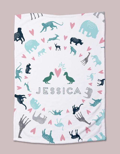 baby Personalised Pastel Animal Bed Set