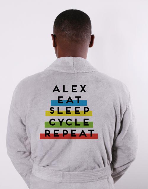 fathers-day Personalised Eat Sleep Grey Fleece Gown
