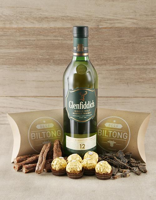 fathers-day Glenfiddich Scotch Whiskey and Biltong Hamper