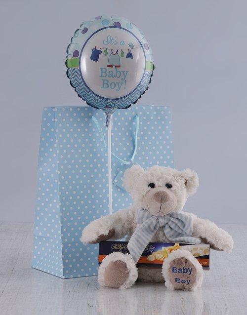 baby Its a Boy Teddy and Nougat Hamper