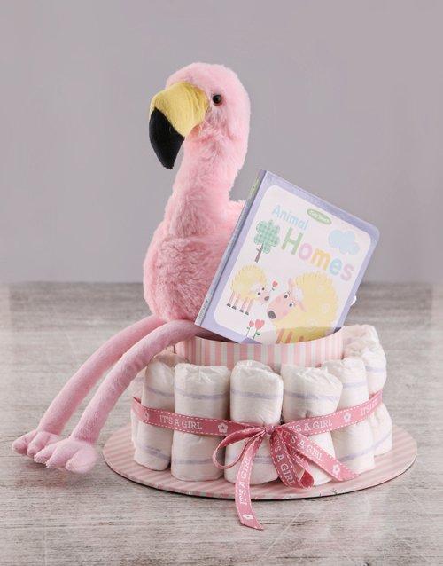 baby Story Time Flamingo Nappy Cake