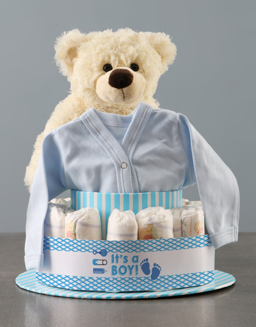 baby Its A Boy Teddy And Clothing Nappy Cake