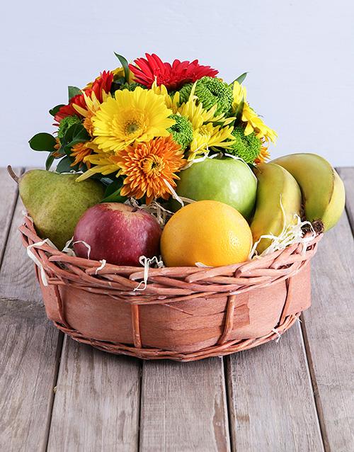 birthday Quaint Fruit and Flower Basket