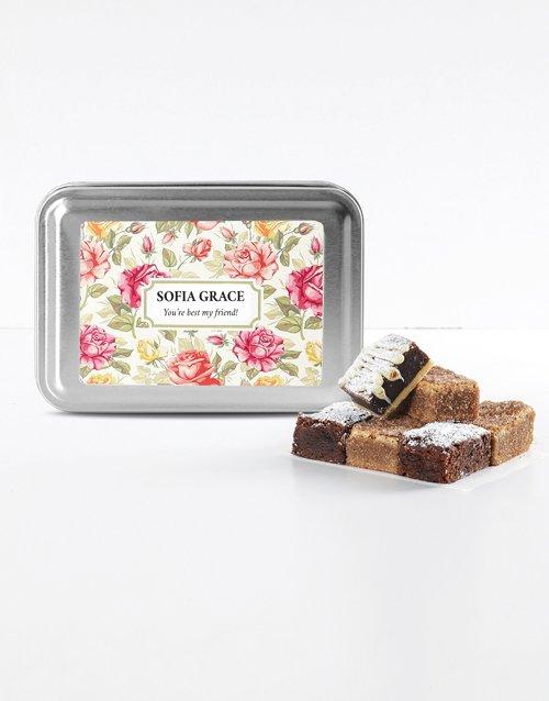 birthday Personalised Floral Sweet Tooth Brownie Tin