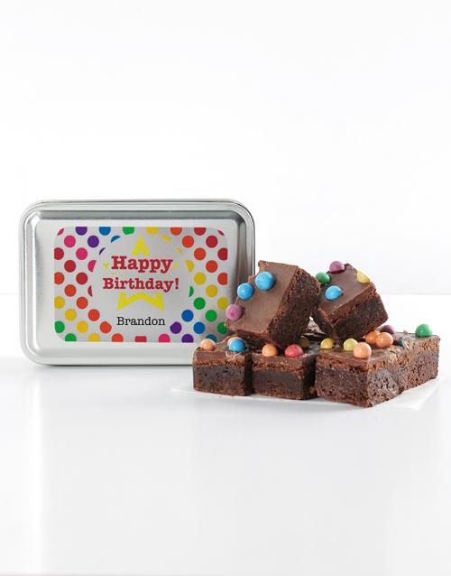 birthday Personalised Polka Dot Birthday Astro Brownie Tin