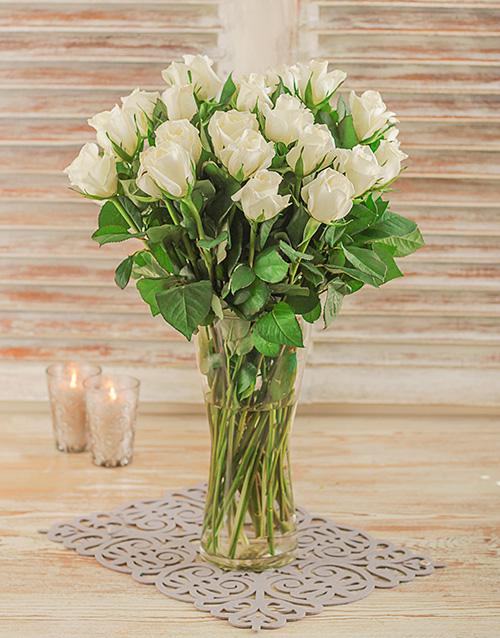 roses White Roses in a Glass Vase