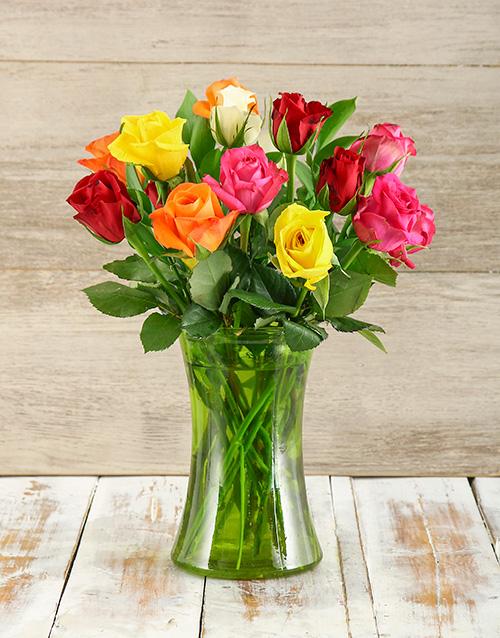 roses Rose Medley in Glass Vase
