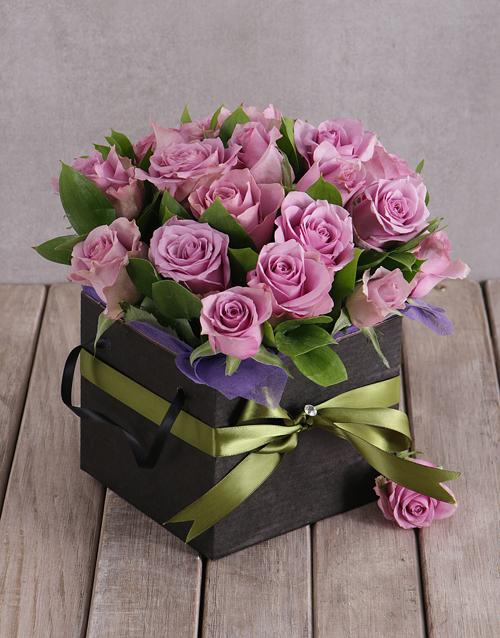roses Light Purple Roses in Black Box
