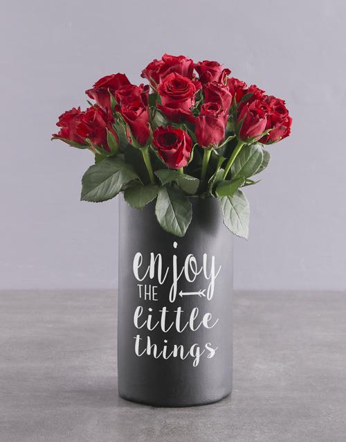 roses Red Roses in Chalk Vase