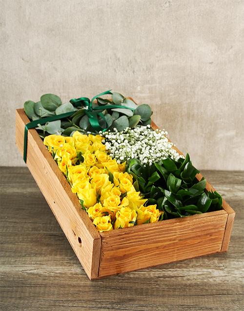 roses Elegant Yellow Rose Box