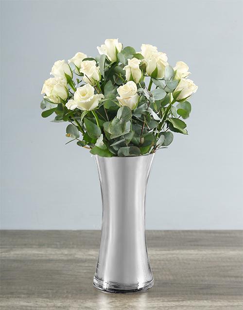 roses White Roses in Silver Vase