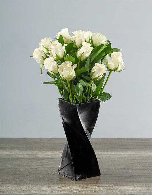 roses White Roses in a Black Twisty Vase