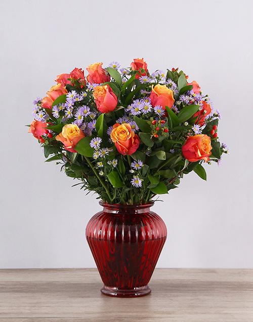 roses Cherry Brandy Roses in Red Urn Vase