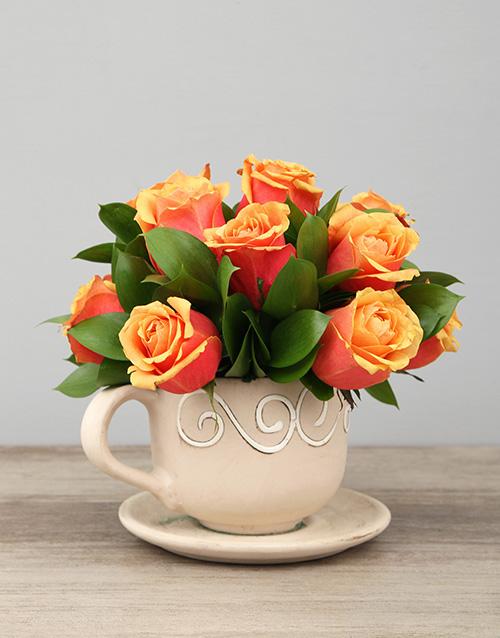 roses Ceramic Tea cup of Cherry Brandy Roses