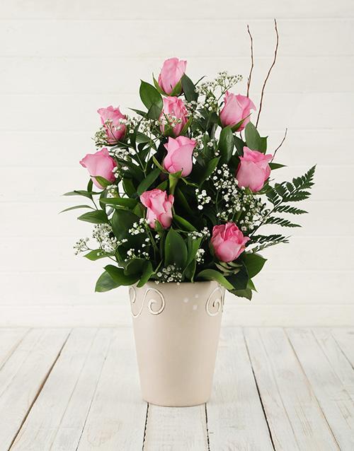 roses Pink Rose Pot