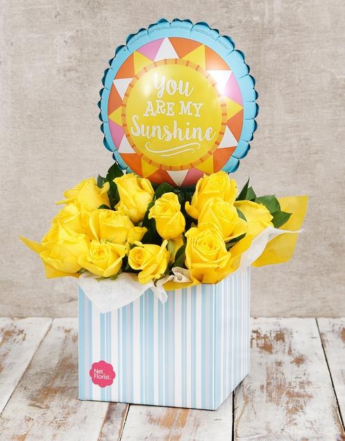 roses My Sunshine Balloon and Yellow Rose Box