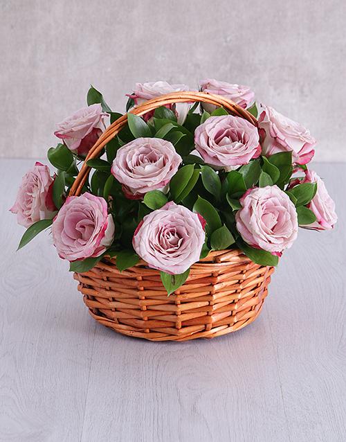 roses Variegated Rose Basket