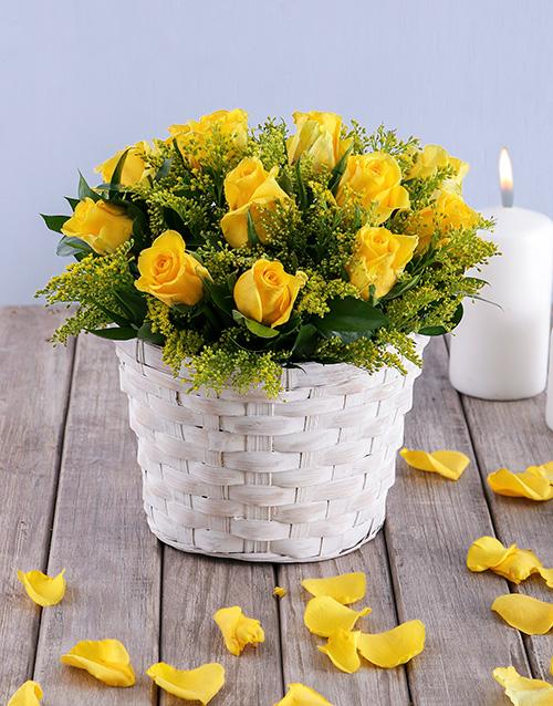 roses Petite Yellow Rose Basket
