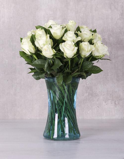 roses White Majestic Rose Arrangement