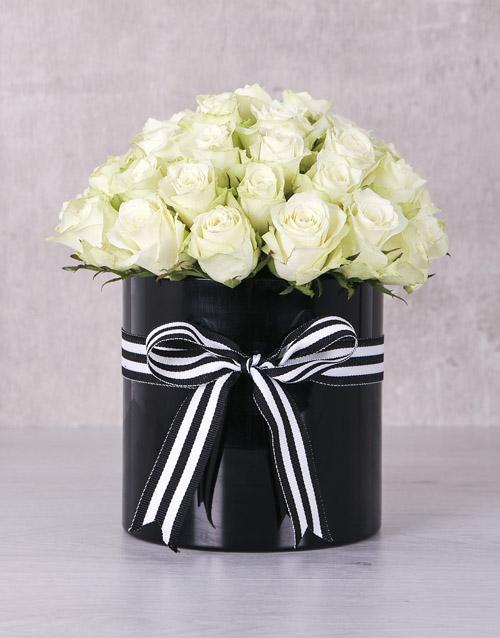roses White Roses in Ribbon Stripe Box