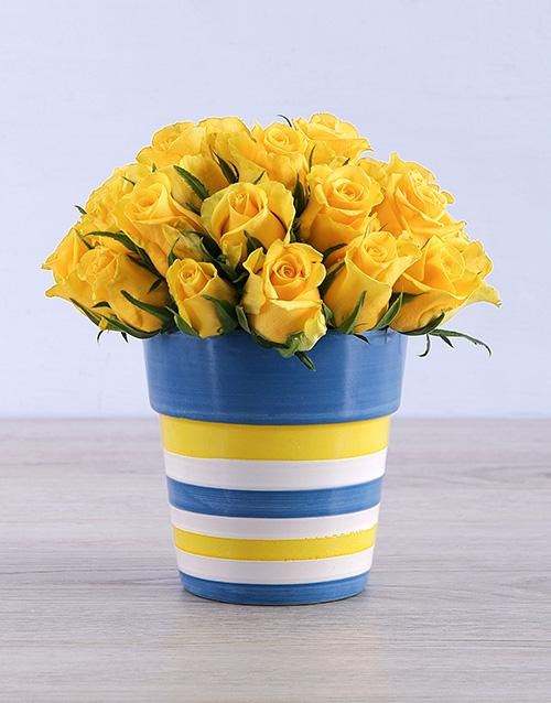roses Yellow Roses in Round Stripy Vase