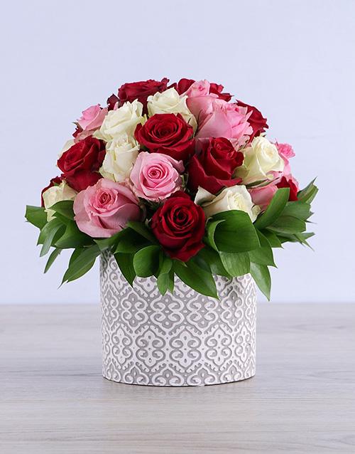 roses Mixed Roses in Grey Ceramic