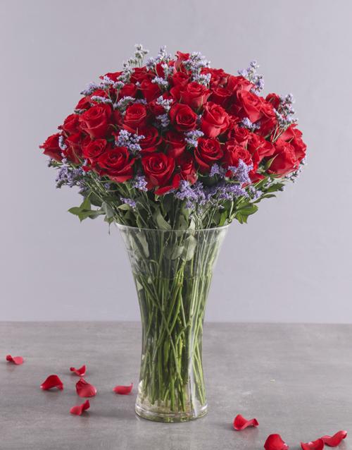 roses Designer 100 Red Roses Vase