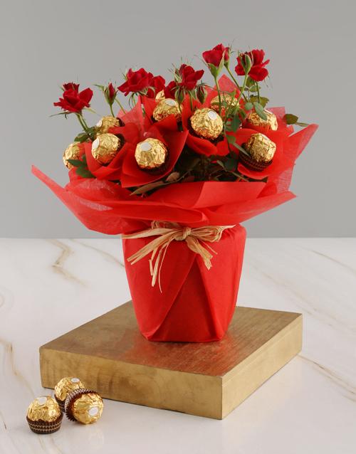 roses Red Rose Bush And Ferrero Rocher Treats