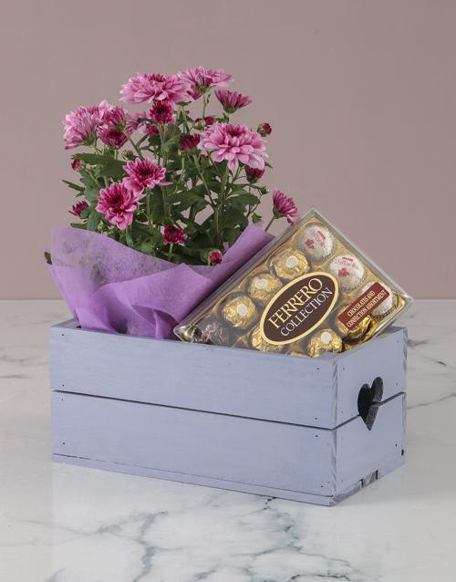 birthday Chrysanthemum and Chocolates in Heart Crate