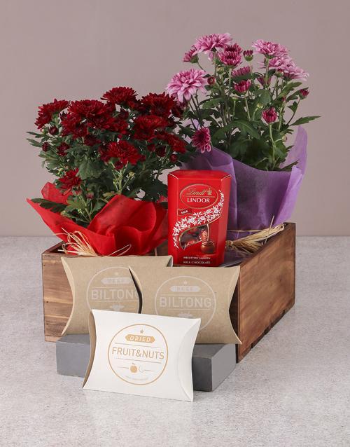 birthday Pink and Red Chrysanthemums Gourmet Gift Set