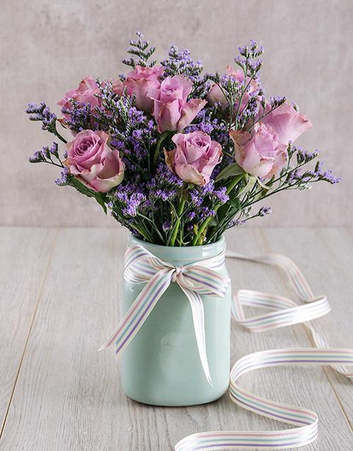 roses Lilac Roses in Mint Ceramic Vase