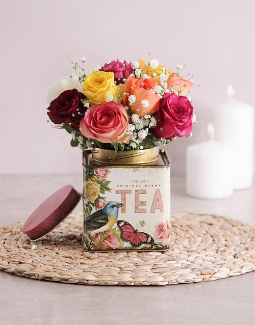 roses Mixed Roses in Printed Tea Tin