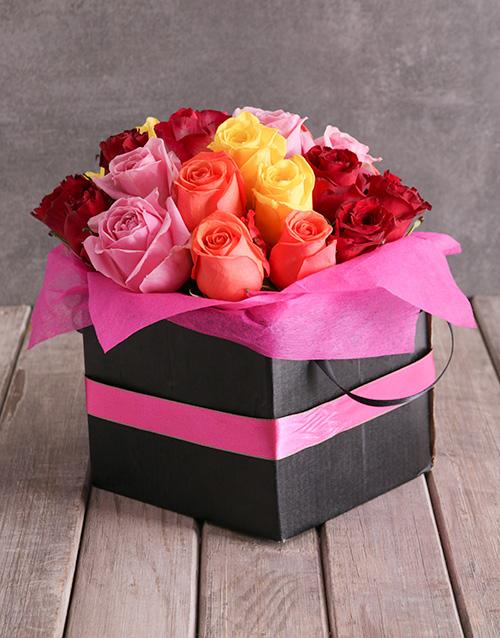 roses Mixed Roses In Pink Ribbon Box