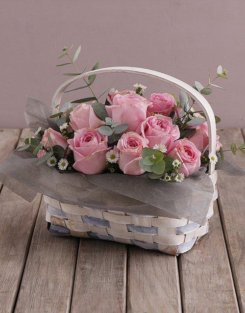 roses Basket of Pink Roses